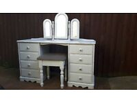 solid wood dressing table with stool and freestanding trio of mirrors