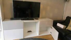 Ikea Besta White / grey TV unit with doors and drawers
