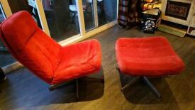 Gorgeous retro swivel chair and footstool