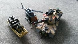 COLLECTION OF ARMED FORCES' IMAGINATIVE TOYS TANK, HELICOPTER, BOAT FIGURES,