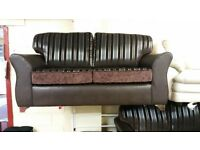 BRAND NEW 3+2 SILVER STRIPES REVERSIBLE BACK FABRIC SOFA £299 HAND MADE SOFA