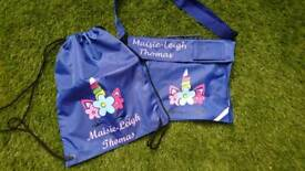 School book bags personalised with any name