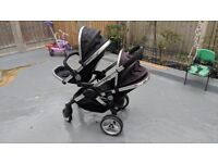 iCandy Peach Double Tandem Stroller Buggy Black (Repaired handlebar + new grips)
