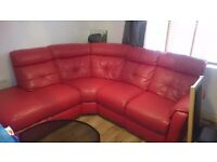 Red leather corner sofa, PRICE LOWERED with electric recliner