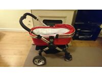 Icandy Peach travel system in red.