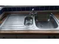 1 and a half bowl stainless steel sink with mixer taps