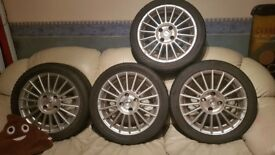 "4x100 Set 15"" FOX RACING EVO alloy wheels Mazda ford MX5 6.5x15 et35 Chesterfield w/ Tyres"