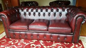 Chesterfield ox blood red leather suite (3 + 1 + 1) in excellent condition.