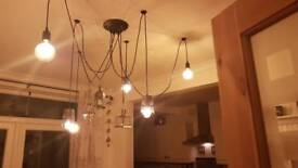 Vintage style ceiling light 6 drop