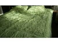 Beautiful quilted bed spread for super king bed light green