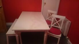 Ikea ingatorp dining table with chairs and bench