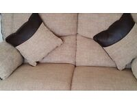 SCS 2 Seater Sofa Fixed and 2 Power Reclining Chairs Wren Beige and 2 Cushions