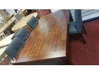 wenge table and 4 grey fabric chairs