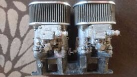 Dellorto twin 40 carbs. K and n filters with cross flow manifold. Not used since they where rebuilt