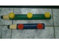 Children's wooden pencil shaped coat hooks