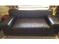 Leather sofa dark brown