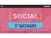 The Social Festival: Saturday 30th: 1x ticket