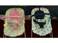 2 x Mothercare bouncy chairs
