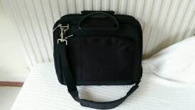 Black laptop briefcase multi compartment bag with handle and strap