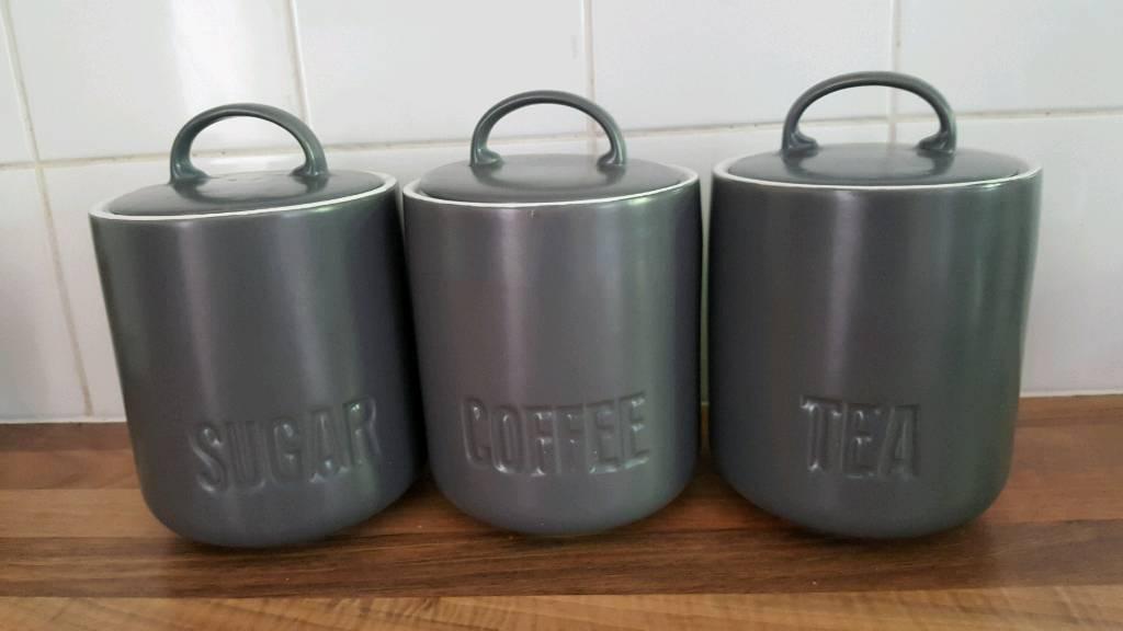 Grey Ceramic Tea Coffee Sugar Canisters