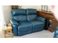 gorgeous Teal leather 3 piece suite, 2 seater recliner single recliner and storage cube