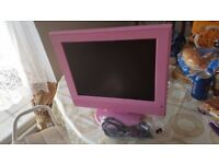 Pink TV. Excellent quality. Power cable. Collect today cheap