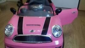 Pink Push along mini cooper