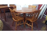 Solid pine table and four chairs