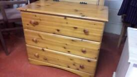 Lovely pine three drawer chest