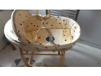 Clair de Lune Moses Basket With Rocking Stand And New Mattress