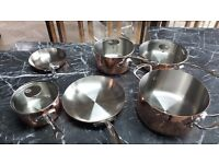 LUXURY SAUCEPANS: MAUVIEL ORIGINAL SET - ORIGINAL PRICE 1000£-SELLING AT 500£