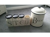 Fairmont and Main Tea, coffee, sugar, Utensil and Bread bin storage set