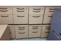Beech storage and filing pedistals on wheels
