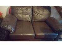 2seater chocolate brown leather sofa