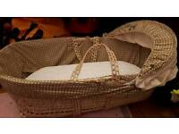Cream wicker moses basket