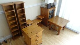 Set of Solid Pine Furniture Coffee Table Shelves Sideboard TV Stand 3 Drawer Bedside Table