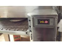 "Lincoln Impringer 32"" conveyor gas pizza oven, spiral dough mixer and pizza pans & lids"