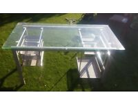 Glass Topped Desk - Grey And Silver - Very Sturdy