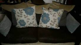 2x 3 seat SCS Sofa Fabric and Faux Matte Leather