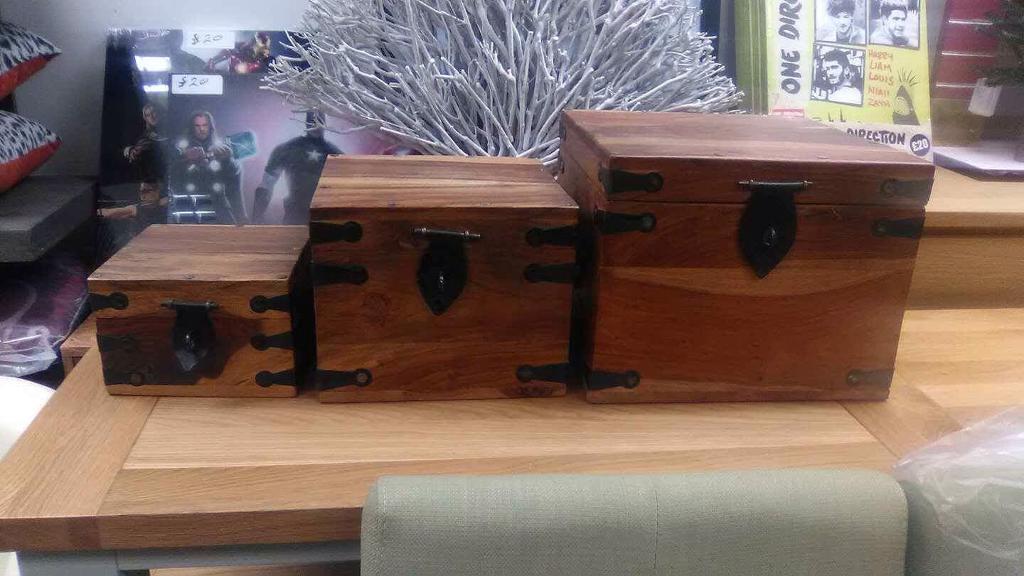 Indian hard wood storage boxes