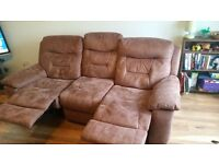 DFS Double Recliner, suede look fabric, less than 2yrs old, offers welcome