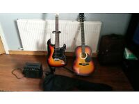Electric & Acoustic Guitars £100ono with amp lead and bag
