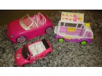 Barbie cars and a shopkins ice cream van