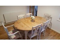 Good condition shabby chic dining table and 6 matching chairs.