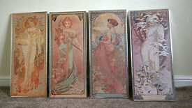 Mucha print x 4 used good condition. silver frame