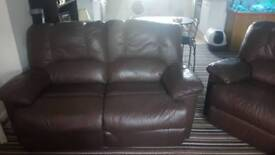 BrownLeather recliner settee 2 seater and a one seater
