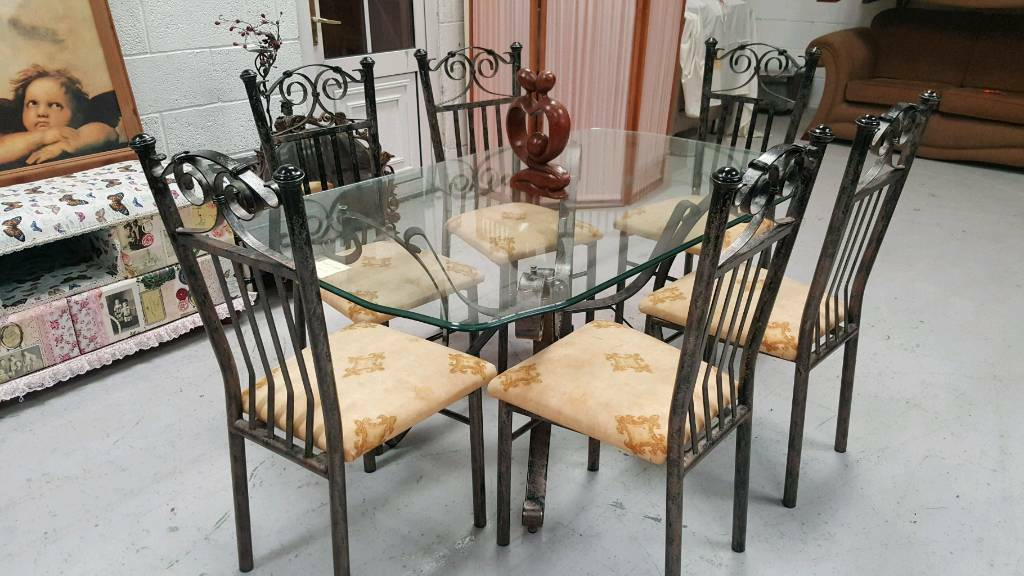 Ex Stevensons Large Solid Wrought Iron Dining Table 6 Chairs Can Deliver 07808222995