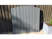 "Garden Grey Side Gate Door Arch Top Solid and Heavy Duty Size W 41"" x H 37""- 40"""