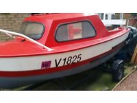 15ft Boat with small lockable cuddy. 4hp yamaha outboard plus trailer