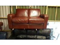 2 seater sofa in brown leather mint mint condition £125